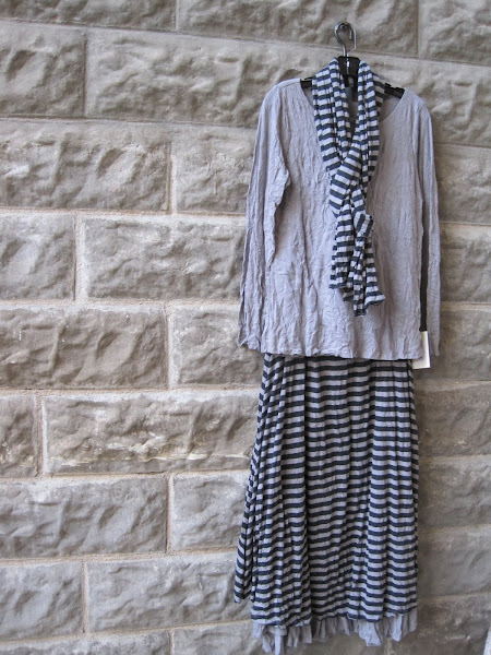 Thistle LS Top, stripe scarf and reversible skirt