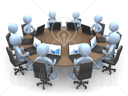 "This ""cartoon of a group of office workers "" clipart image is available"