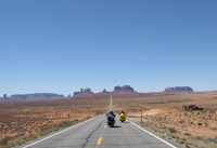 motorcycles on a desert highway