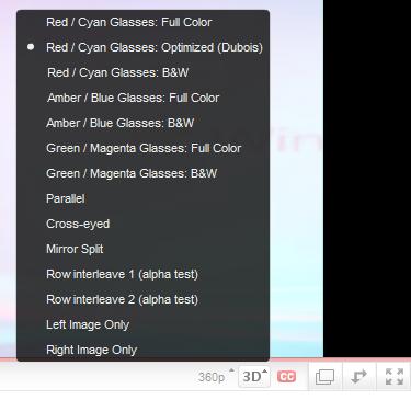 YouTube 3D Option