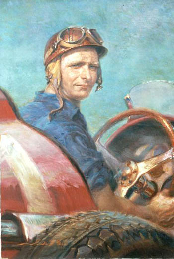 Muestra de cuadros en el Museo Fangio