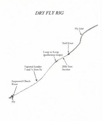 Virtual fly guides rig up for dry flies for Trout fishing line setup