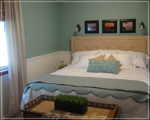 master bedroom remodel with white wainscoting panels