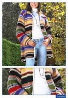 casaco multicolorido em tricot