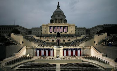 The stage is set in front of the Capitol