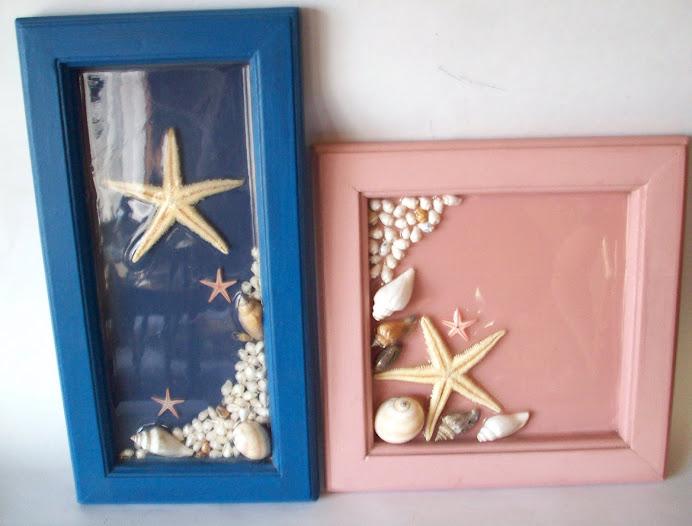 cuadros resina y estrellas de mar