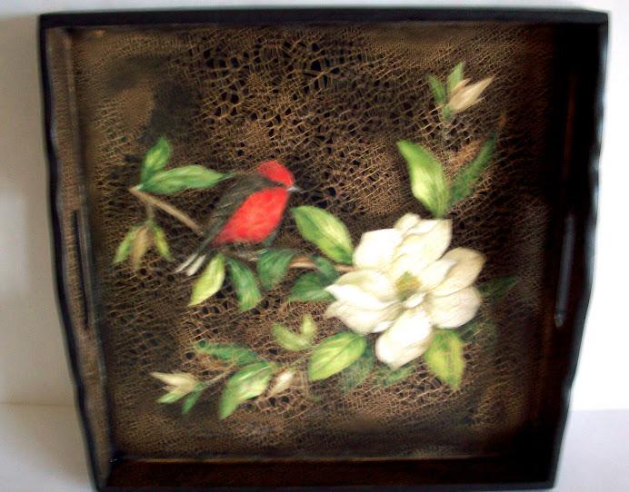 bandeja magnolias y pajaro