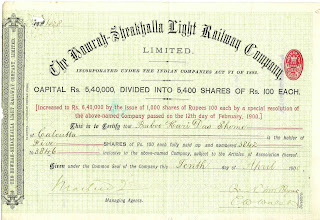108 Year Old Share Certificate Of An Indian Company  Company Share Certificates