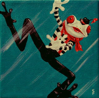 Mime Frog Acrylic Painting