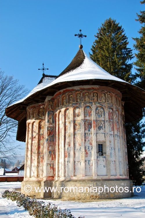 Humor Monastery is located in the village with the same name, Mănăstirea  Humorului, about 5 km north of the town of Gura Humorului.