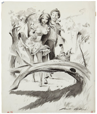 A sexy girl and guy walk through the woods in this Playboy Magzine 1954 cartoon