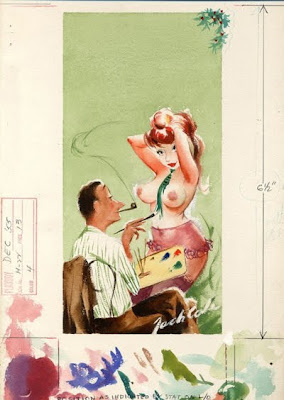 Classic Playboy cartoon drawing of artist painting clothes on beautiful sexy topless redhead female model.
