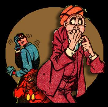 Cartoon of nervous worried man chewing fingernails