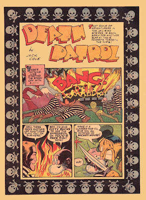 A border of cartoon skulls frames a classic old vintage rare comic book page from Military Comics