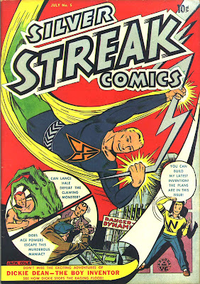 A cartoon superhero holding a lightning bolt and fyling is shown on the cover of Silver Streak Comics 5 by Jack Cole.