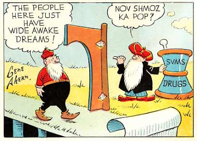 The inspiration for the Robert Crumb cartoon character Mr. Natural appears in this panel from the vintage comic strip Squirrel Cage by artiost Gene Ahern.