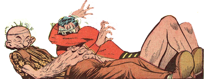 Plastic Man and the evil villain Scroggs are shown asleep and dreaming in this edited cartoon image.
