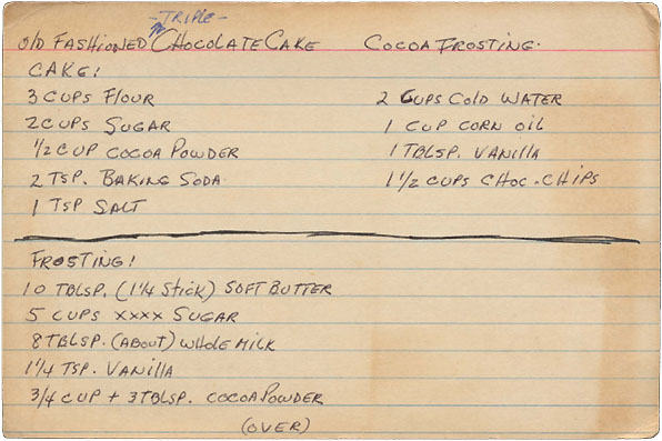 Memere's Favorite Recipes: Old Fashioned Triple Chocolate Cake