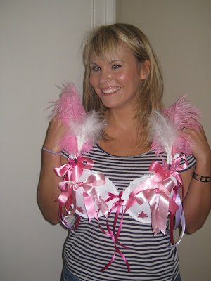 Breast Cancer Bra Decorating Ideas http://jennielandels.blogspot.com/2009/06/bra-decoration.html