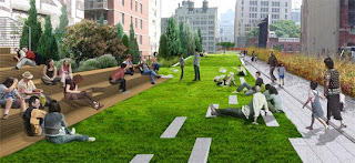 Artist rendering of NYC's High Line Park.