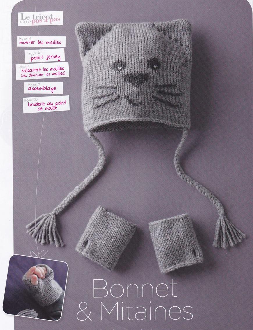 Вязание спицами шапки кошки для новорожденных6