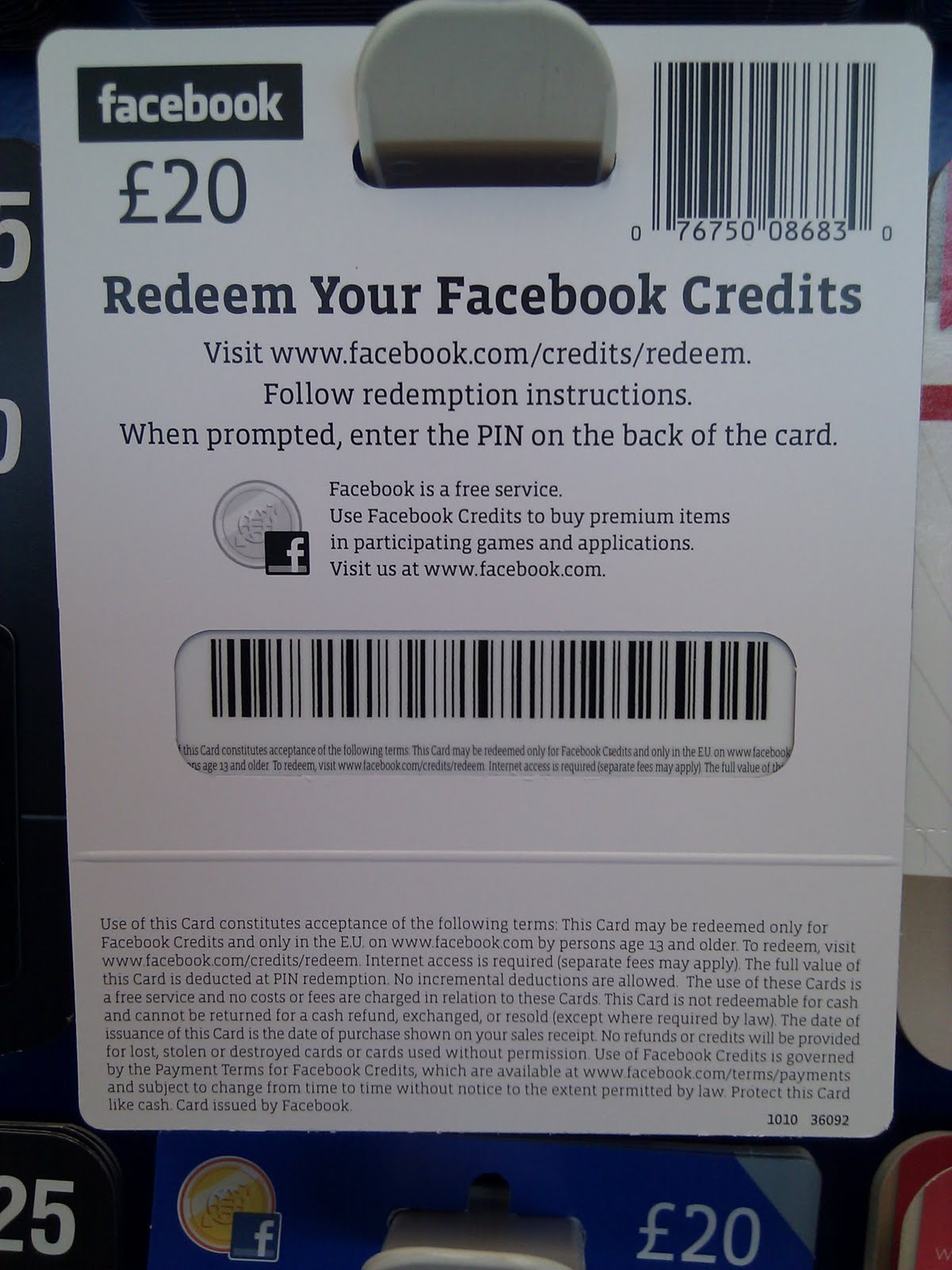 Facebook credits gift cards now available at tesco facebook credits gift card back negle Gallery