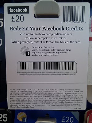 Facebook Credits Gift Card back