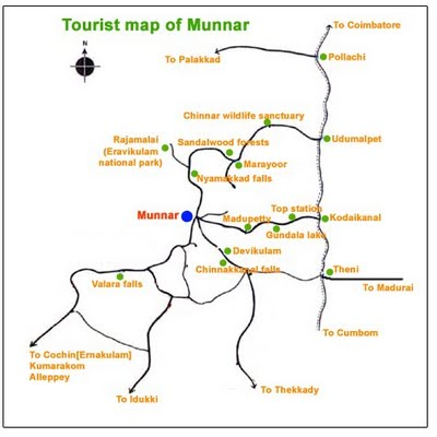 Map of Munnar | Tourist Map of Munnar | Munnar Tourism Map - Munnar ...