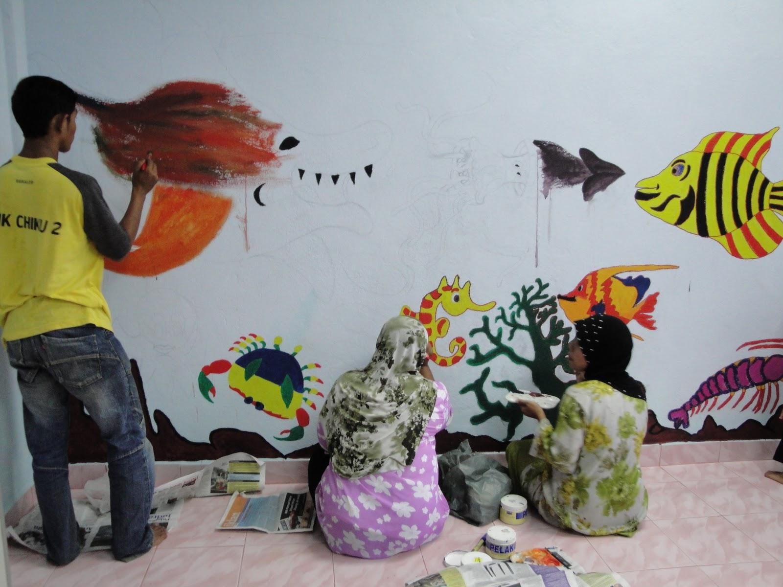 mural pada bilik 2 3 tahun tema haiwan laut pusat