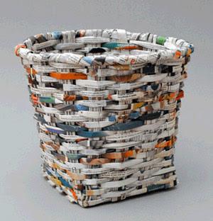 Cultura reciclapel manualidades papelera y cesta de - Cestas de papel de periodico ...