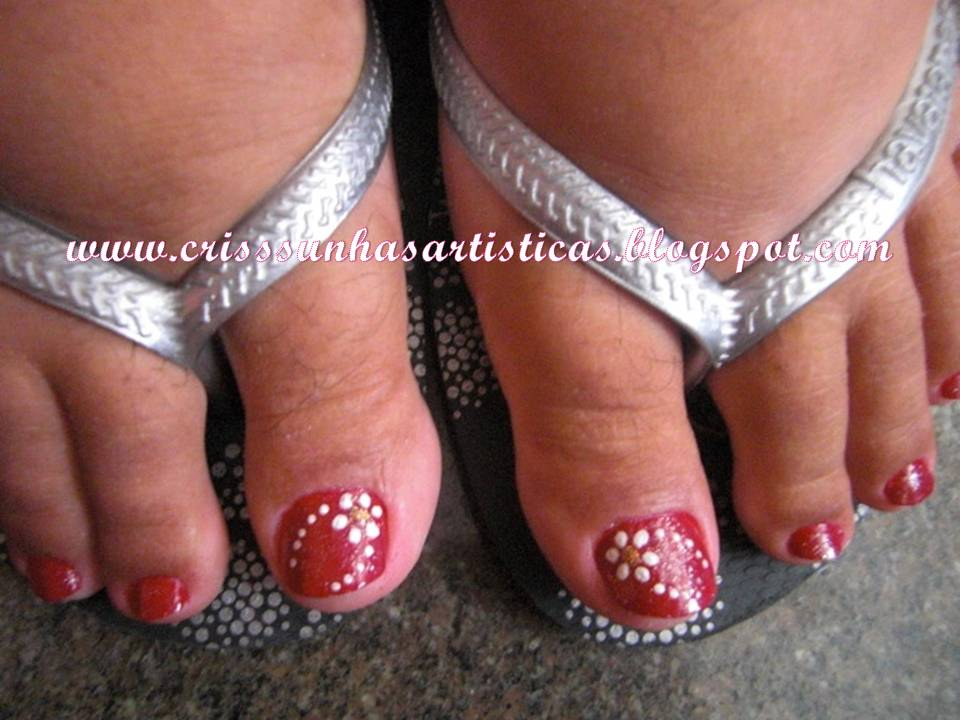 u2665Crisss Unhas u2665 Modelos simples nos pés -> Decoração De Unhas Do Pé