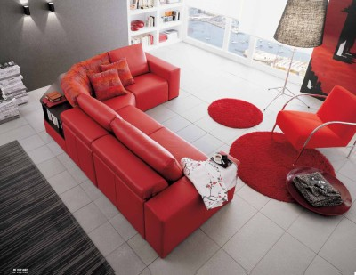 Idee per l 39 arredamento colorare il salotto o il soggiorno for Parete rossa soggiorno