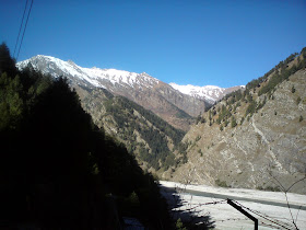Snow clad Himalayan peaks just as we were approaching Harsil - Enroute to Gangotri