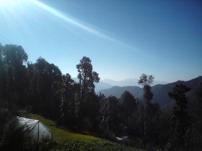 A clear, cloudless morning on the way to Birahi from Uttarkashi
