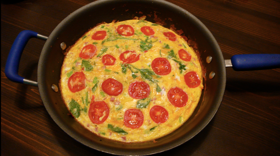 Sarah's Kitchen Adventures: Ham, Tomato, and Spinach Frittata