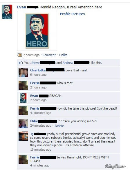 some funny images for facebook. Some funny comments on Facebook Apparently this website (College Humour)