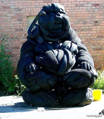 Unique statue of used tires