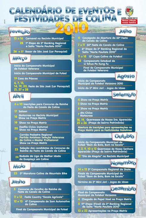 Calendário de Eventos e Festividades de Colina