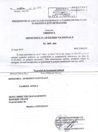 AVANSARI LA GRADUL DE LOCOTENENT-COLONEL, LA PROPUNEREA ANCMRR-FILIALA VASLUI