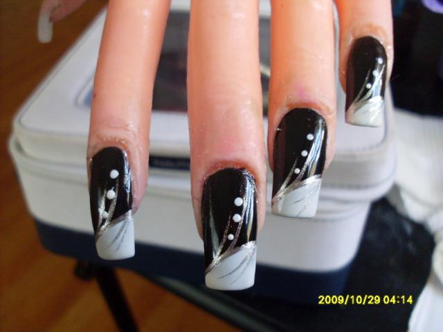 Pics of black and silver nail art top amazing black and silver nails black and silver rhinestone nail art kat s designs view images prinsesfo Gallery