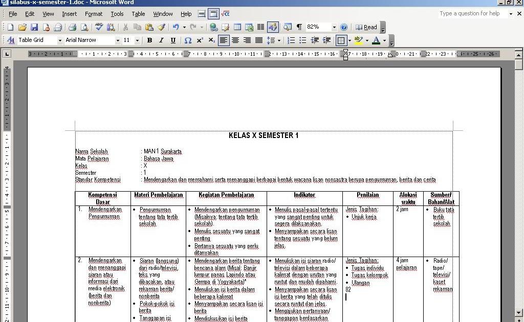 Rpp Bahasa Jawa Sma Kelas Xi Semester 1 High School Information Silabus Rpp Silabus Bahasa