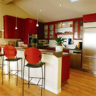My red raised ranch 39 extreme 39 makeover painted kitchen for Raised ranch kitchen designs