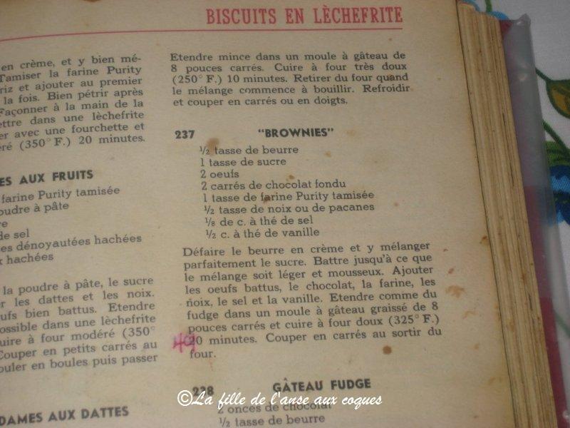 La fille de l 39 anse aux coques brownies for Anciens livres de cuisine