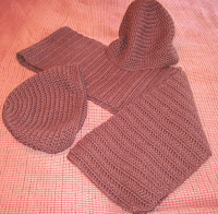 brown crocheted hats and scarf