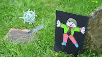Capt Abner Pinney's gravestone and Flat Stanley