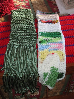 crocheted and knitted scarves