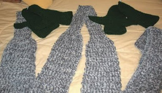 crocheted scarves and mittens