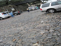 steep cobblestone street