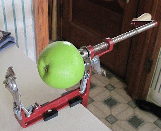 apple on corer