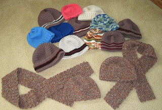 knit and crocheted hats and scarves for homeless